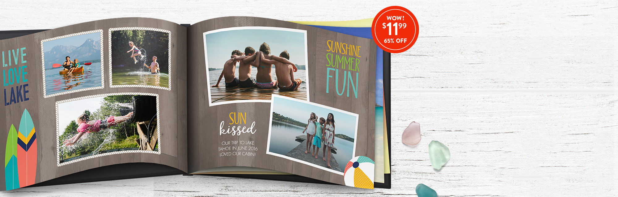 Soak up all your summer fun : An 8x11 Hardcover Photo Book makes a great catch. Use 1199BKS